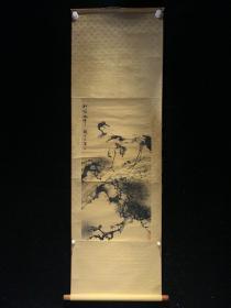 国立历史博物馆 赵松泉 松鹤轴 民国清代老字画书房挂轴 2450