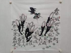 保真书画,国画大师崔子范之子,大写意花鸟画家崔新建国画《玉兰蝴蝶》一幅