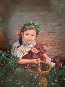 张嘉应,原创油画75x100cm,童年系列,可合影