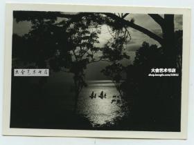 民国1930年代海边日落帆影风光老照片一张,泛银