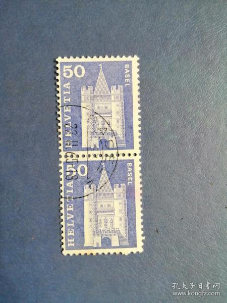 外国邮票 瑞士邮票  1960年 邮政史和著名建筑 2连(信销票)