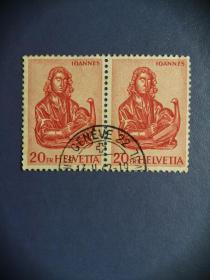 外国邮票 瑞士邮票  早期 邮票 圣奥斯瓦德教堂的木雕 2连(信销票)