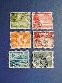 外国邮票 瑞士邮票  早期 邮票 建设、风光 6枚(信销票)