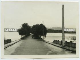 民国浙江杭州西湖苏堤老照片,8.8X6.4厘米,泛银