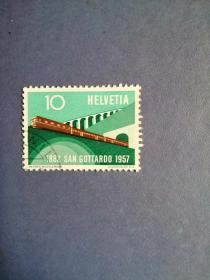 外国邮票 瑞士邮票 1957年圣格达铁路隧道通车75周年(信销票)