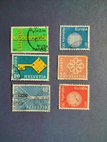 外国邮票 瑞士邮票  早期邮票 欧罗巴 6枚(信销票)