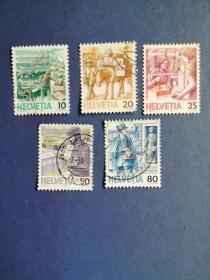 外国邮票 瑞士邮票  1986-1987年 邮政服务 5枚 (信销票)