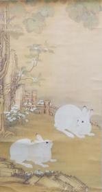 老裱,老装饰画,兔子