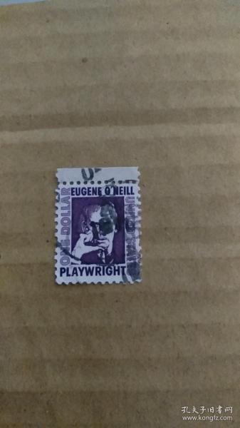 美国信销邮票 1973年 剧作家尤金奥尼尔,带边纸