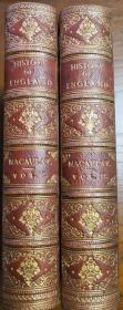 1871年History of England 《英国史》,麦考莱英文原版,真皮精装书脊精美烫金压花,三边大理石纹簪花口