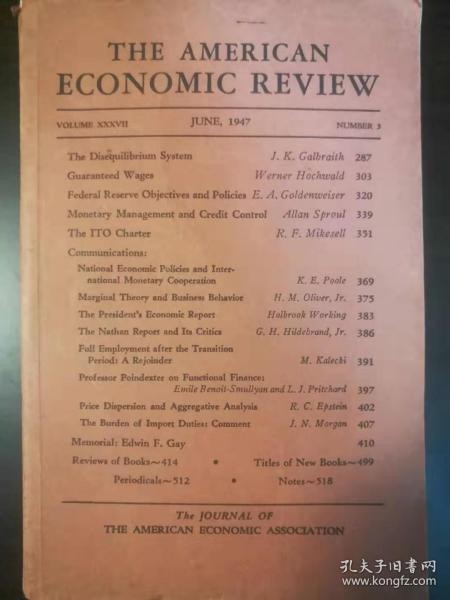 The American Economic Review(美國經濟評論)1947年June期