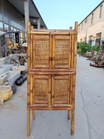 楠竹老書柜,保存完整,長68cm,寬39cm,高157.8cm。可做書柜茶柜酒柜餐邊柜或櫥柜