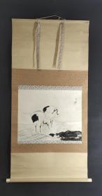 D941:回流印刷双鹤图立轴(日本回流.回流老画.老字画)