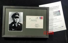 """""""纳粹德国的全能空军元帅"""" 阿尔贝特·凯塞林 亲笔签名实邮信封(含装裱,带框) 由三大签名鉴定公司之一Beckett(BAS)鉴定"""