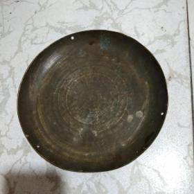 民国包浆厚实铜称盘.直径22cm