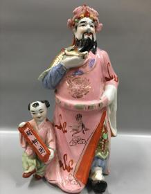 创汇时期瓷塑财神立件