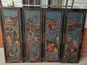 旧藏老漆器【五子登科】四条屏