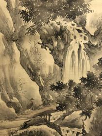 日本回流,精美老画山水樵者图 绢本绫裱,木质轴头,画心105*43·5。画和裱都至少到晚清,原画原裱