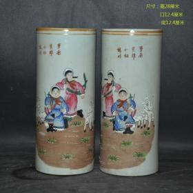 古玩古董收藏 景德镇厂货陶瓷 手绘草原英雄小姐妹帽筒一对摆件