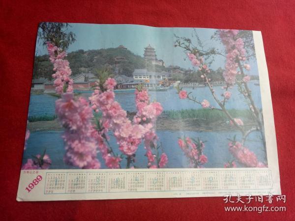 懷舊收藏掛歷年歷《1989萬壽山之春》上官豐攝影 安徽美術出版