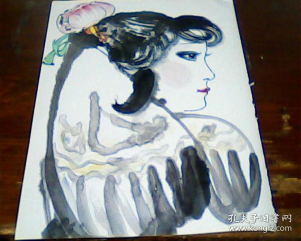 杂志美术画页  正面 刘文西  山丹丹花开    背面 刘文西   陕北少女