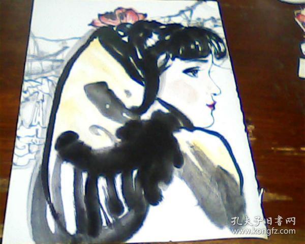 杂志美术画页  正面 刘文西  山丹丹花开    背面 龚文桢  梅竹图