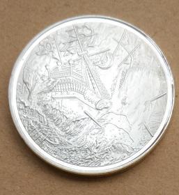 纪念章 镀银 加勒比海盗纪念币 硬币 直径约40mm 鲸鱼海盗船 收藏