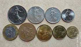 法国硬币  9个套 纪念币 硬币 钱币