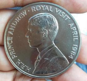 38毫米  1984年  皇家访问英国女王 纪念硬币 带小圆盒