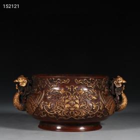精铸紫铜胎鎏金牡丹纹凤首耳炉