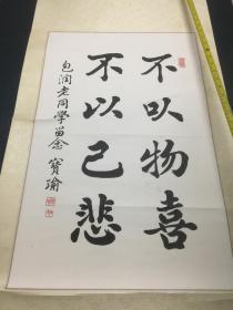 书法:陆宝瑜-不以物喜 不以己悲(包润老同学留念)