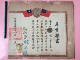 亏本卖:民国毕业证书,上海,国父孙中山像,两侧是中华民国国旗,有证主的照片,校长手写体钤印名字