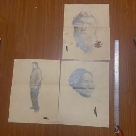 毛乾伟教授素描作品4副【一张纸双面有画】《树荫下的红领巾》【1959年】+《老奶奶素描》
