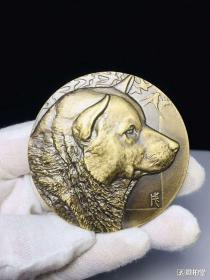 精品铜质十二生肖之一狗纪念章
