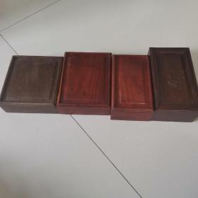 木盒子四件   木质自鉴