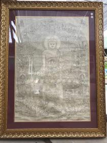 德格印经院木刻版画  佛教图 木刻版画 一张 【德格印经院藏纸 印章】玻璃框已装好 收藏佳品