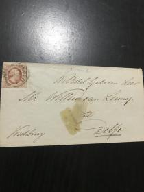 1860年古典邮票实寄封 荷兰第一组邮票实寄封 火漆印章 保存很好 漂亮