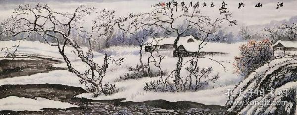 【保证真迹】当代实力派画家李胜祥手绘 江山如画
