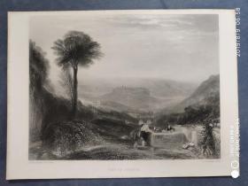 1864年 钢版画 手工雕刻 凹印版画 《VIEW OF ORVIETO》190808  英国风景画家威廉·特纳的作品