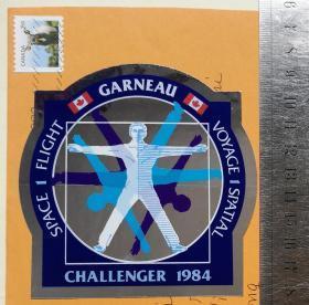"""人类航天史上最大悲剧、""""挑战者""""号航天飞机爆炸、美国国家航空航天局(NASA)""""挑战者""""号航天飞机(HMS Challenger) 、官方任务徽章标志、贴纸1张、官方出品纪念、限量版定做、非常精美精致、珍贵、罕见(""""挑战者""""号航天飞机是美国正式使用的第二架航天飞机、1983年4月4日、首次飞行(STS-6)、1986年1月28日、在升空后73秒时、爆炸解体坠毁、机上的7名宇航员都在该次事故中丧生)"""