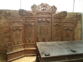 古董古玩黄花梨屏风老木器家具