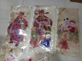民国手绘画  5张合售(65 x 29)有修补托底