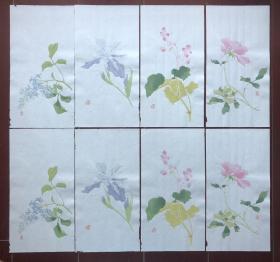 清末 民国 清秘阁花卉笺 八张二套 木版水印 木板水印 信笺纸