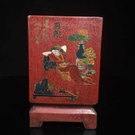 古董收藏漆器笔筒一件书房办公室桌面摆件高20公分口径18公分