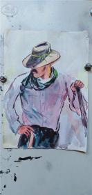 水粉画卡纸《正面西部牛仔,背面女人》