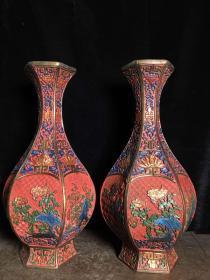 彩绘漆器花瓶一对,高37厘米