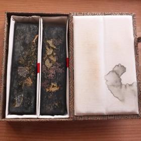 80年代北京一得阁制墨老4两117克2锭套盒装老墨锭N757