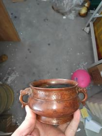 铜龙耳香炉,纯铜的,现在这个价格你买.个..瓷的也买不到,超便宜.