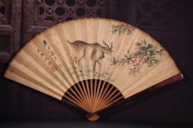 红木手绘纸折扇1 长30cm   宽2cm   扇面展开52cm