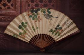 红木手绘纸折扇8 长30cm   宽2cm   扇面展开52cm